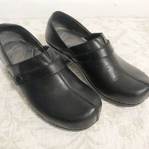 Dansko black leather clogs with button detail 38